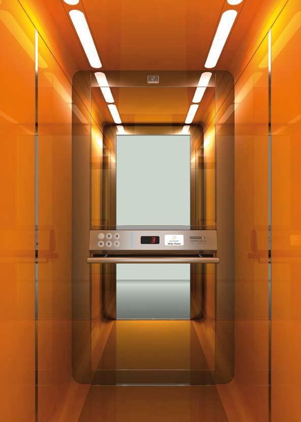 Вид коричневого интерьера для пассажирского лифта